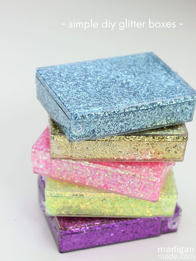 Upcycled Glitter Storage Boxes - Turn clear plastic storage boxes into a glitter-dream.