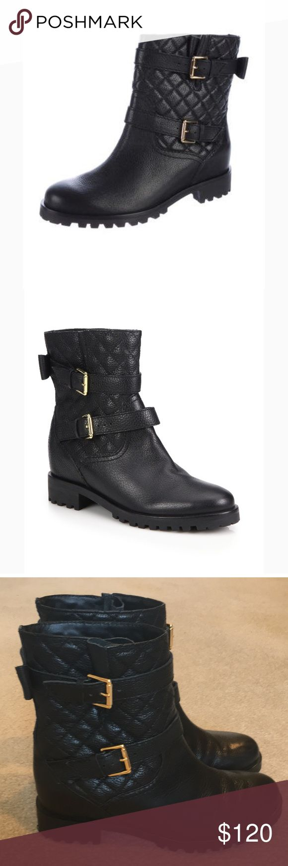 Used Kate Spade Quilted Black Leather Ankle Boots Only worn a few times, Kate Spade quilted leather ankle boots. Missing gold Spade accent on back otherwise In excellent , clean condition. Super cute to wear with leggings and an oversized Knit sweater or with tights and your favorite skirt! Size 8 Kate Spade Shoes Ankle Boots & Booties