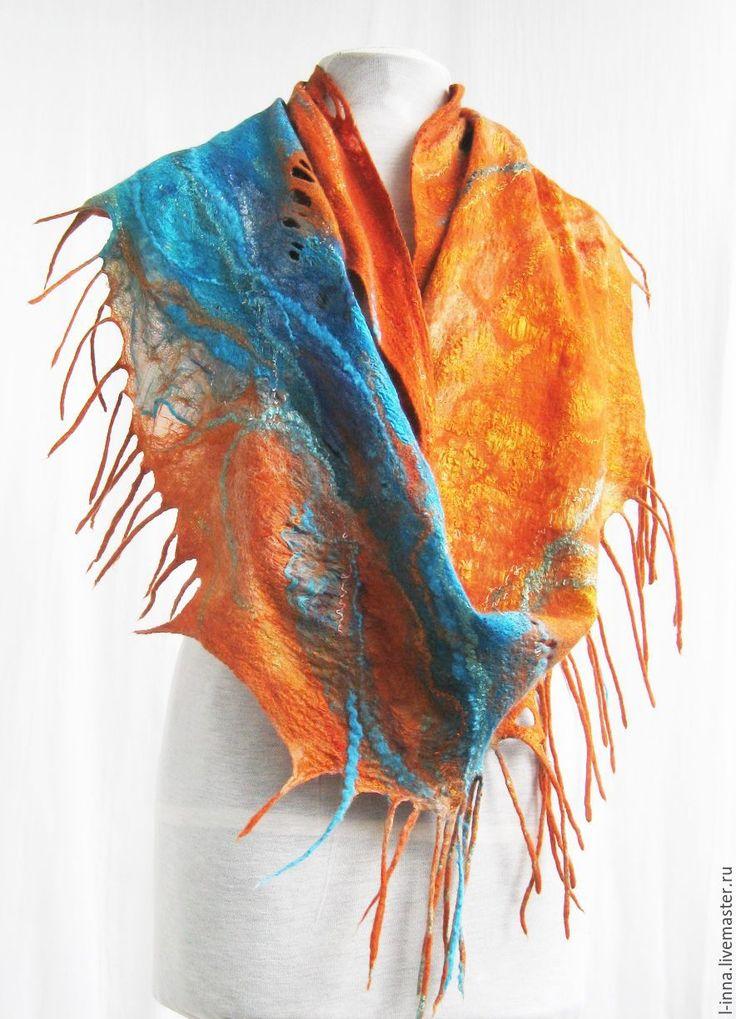 Купить Осеннее море.....палантин бактус валяный - рыжий, абстрактный, оранжевый с бирюзой, оранжевый шарф
