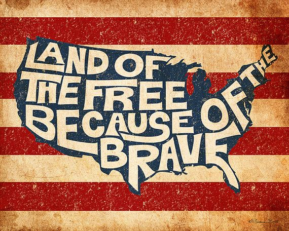 Patriotic Print  Land of the Free Because of the Brave. Hand lettered art print. USA