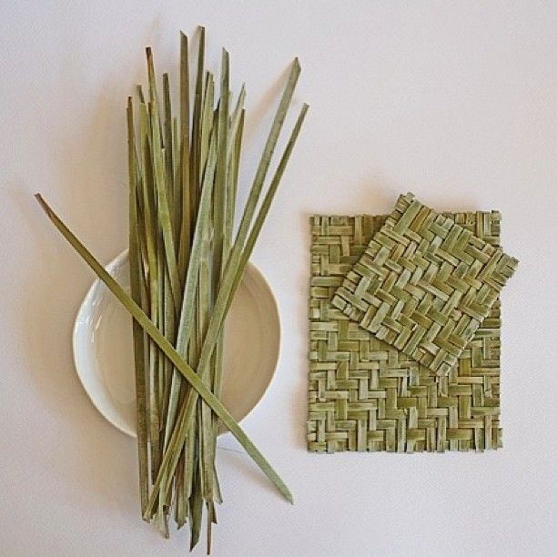 Our first palm weaving project.