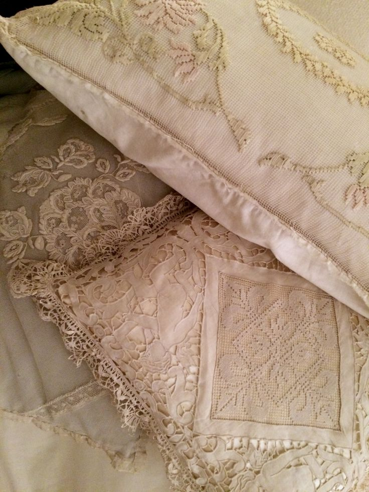 Luxurious lace pillowcases ~~ embroidered netting, richelieu embroidery, embroidered tulle