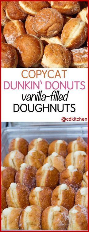 Copycat Dunken Doughnuts Vanilla Filled Doughnuts - A homemade version of Dunkin' Donuts' popular yeast-raised, vanilla cream filled, deep-fried doughnuts.| CDKitchen.com