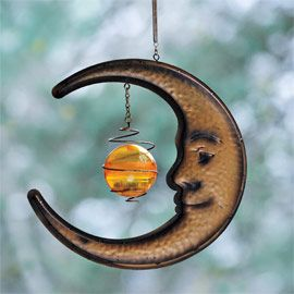 Solar Hanging Moon U0026 Owl Solar Garden Stake   Solar Owl And Solar Hanging  Moon Offer A Nighttime Surprise. As These Metal Sculptures Decorate Your  Outdoor ...