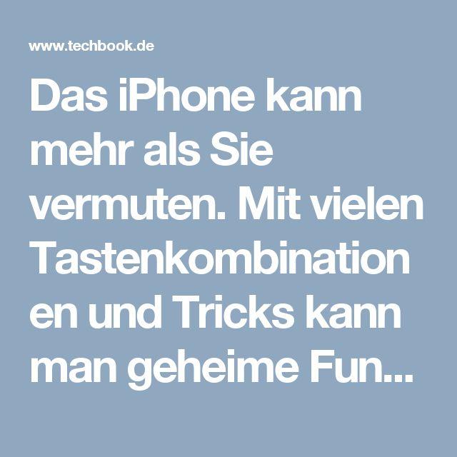 Das iPhone kann mehr als Sie vermuten. Mit vielen Tastenkombinationen und Tricks kann man geheime Funktionen im iPhone aufrufen, die etwa die Sprachqualit�t verbessern oder die Akkulaufzeit erh�hen.