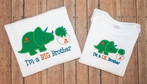 Big Bro Lil Bro 2 Shirt Set Embroidered Applique Shirt/Bodysuit, Personalized Clothes, Sibling Shirts, Brother shirt, Big Bro Shirt, Lil Bro