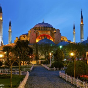 This is a photograph of the famous Hagia Sophia mosque (once a church), in Istanbul , Turkey.