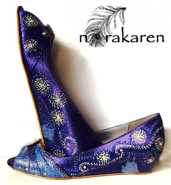 wedding shoes grape starry night purple wedge low by