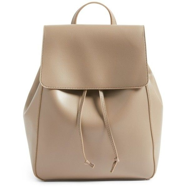 Women's Sole Society Ivan Faux Leather Backpack ($43) via Polyvore featuring bags, backpacks, taupe, taupe bag, faux leather bag, taupe evening bag, rucksack bags and faux leather backpack
