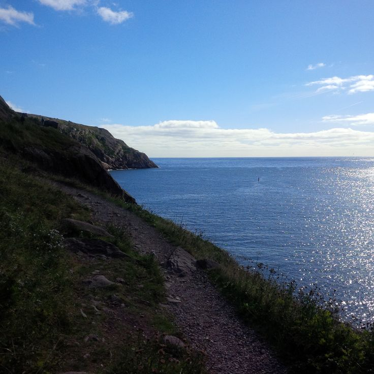 Trail around Signal Hill, St. John's, Newfoundland. Ran right around the point you see in the distance.
