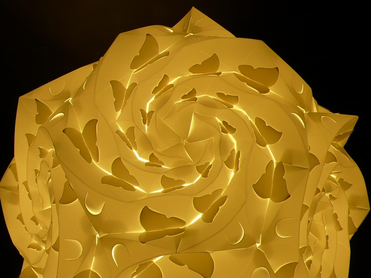 Spidron Rose, it's a Rose Shape Lamp with a lot of butterfly shadows. [Designer - Justy] [Concept from www.spidron.hu]