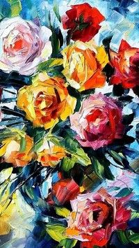 Malowane róże na obrazie