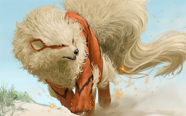 Download wallpapers Arcanine, art, 2018 games, Pokemon Go