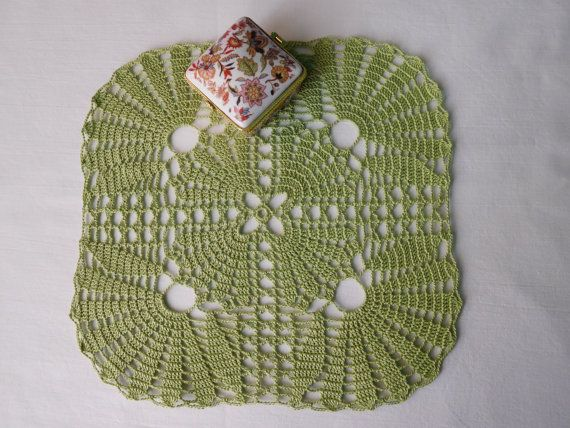 Square olive crochet tablecloth 25x25cm or by ThreadloveByEdith