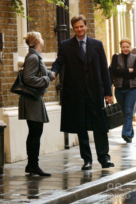Filming 'Bridget Jones -the Edge of Reason' in Borough Market, South London  Colin Firth and Renee Zellweger