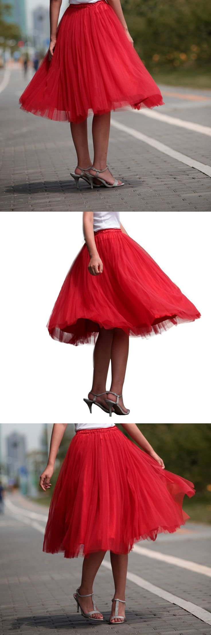 Red Tulle Skirt Girls Max Women Adult Tutu Skirts Knee Length Empire Boll Gowns For