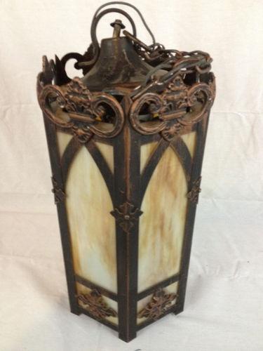 Antiques      >      Decorative Arts      >      Lamps    Vintage Chocolate SLAG GLASS Hanging Lamp ORNATE
