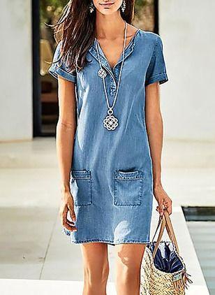 Denim Solid Short Sleeve Above Knee Casual Dresses (1955132704)