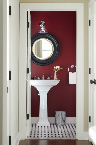 Best 25 red bathrooms ideas on pinterest bathroom paint for Red accent bathroom