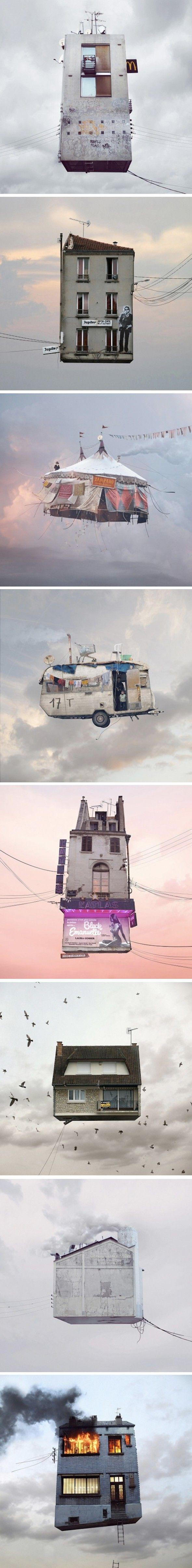 série Flying Houses par le photographe français Laurent Chéhère.
