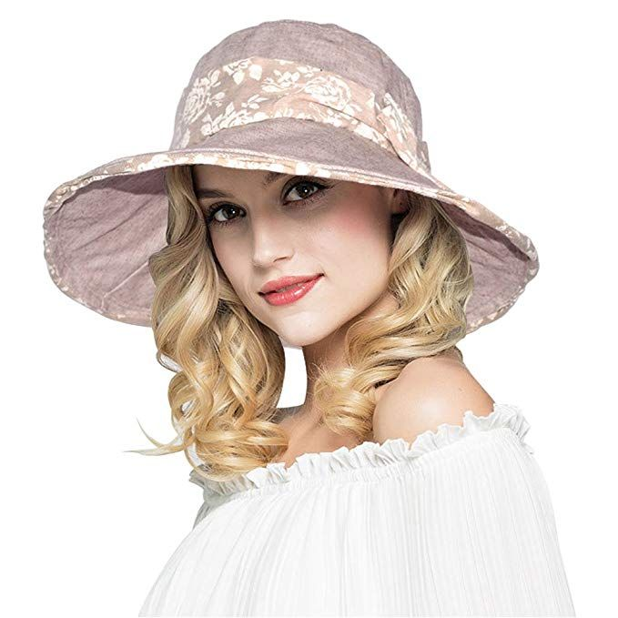 19803e75342 AOMUU Womens Summer Sun Hat - UPF 50 Wide Brim Floppy Foldable Packable  Beach Hat w