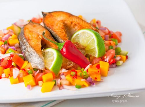 Crispy Trout with Quick & Easy Mango Salsa crispy fried Trout with Mango salsa to go with it. This is the type of dish we like making and eating on lazy-just kicking back kind of weekends... See more: http://goo.gl/71Ky4j  #fish #food #mangoes #recipe