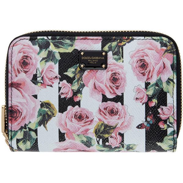 Dolce and Gabbana Black Stripes and Flowers Compact Wallet (1,915 PEN) ❤ liked on Polyvore featuring bags, wallets, black, hardware bag, flower wallet, credit card holder wallet, stripe bag and striped wallet