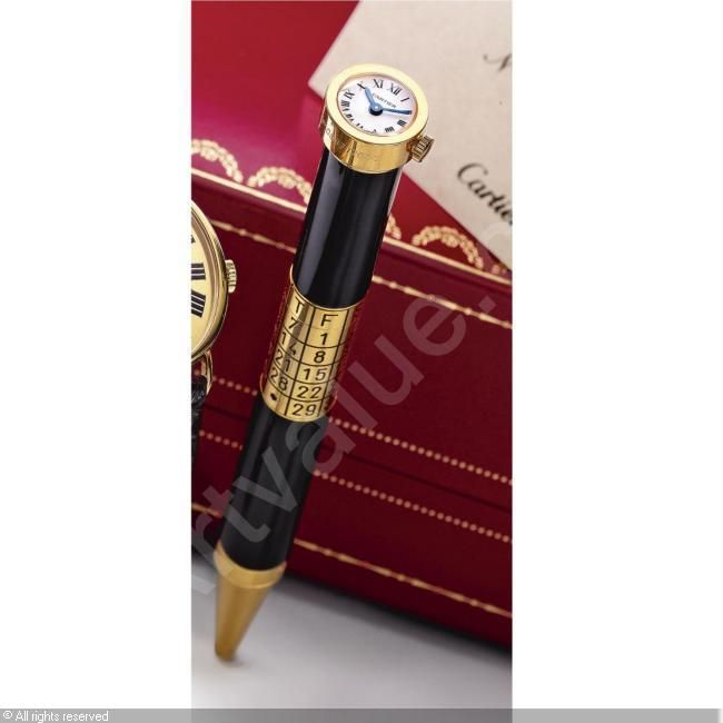 A LIMITED EDITION BLACK LACQUER BALLPOINT PEN WITH WATCH AND CALENDAR FUNCTION sold by Sotheby's, New York, on Friday, October 19, 2007