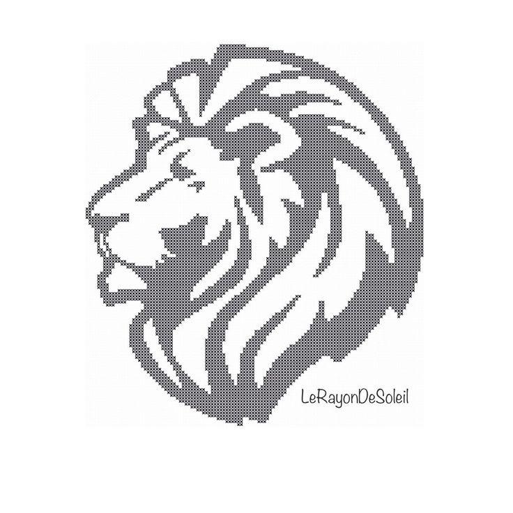 Lion Cross stitch pattern black silhouette. door LeRayonDeSoleil