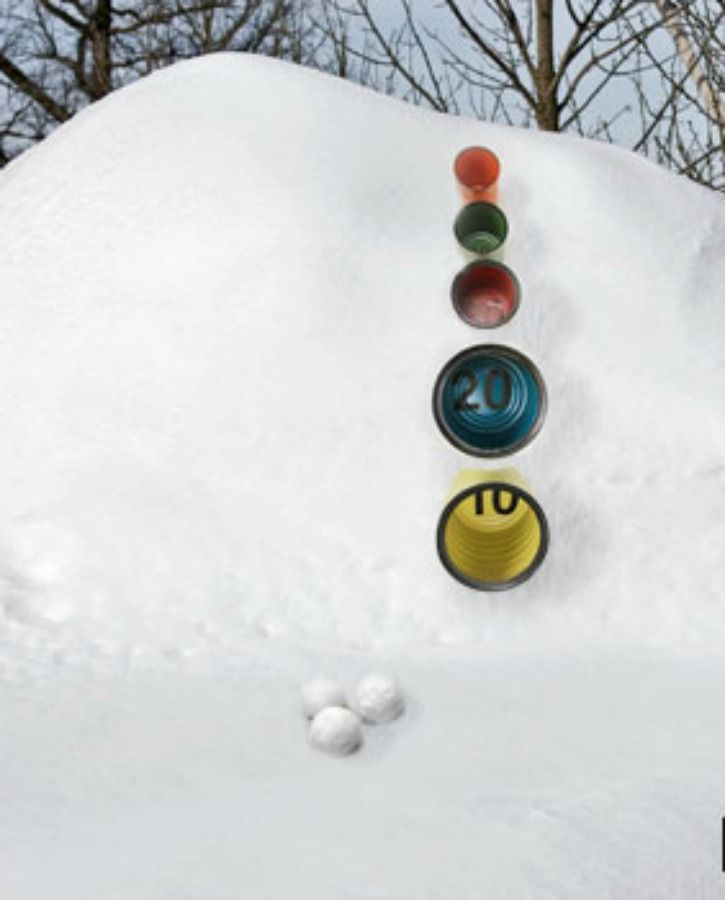 Put a new twist on an old arcade game with tin cans, spray paint, vinyl numbers and snow. Our DIY skee ball game is better than a snowball fight! - Everyday Dishes & DIY