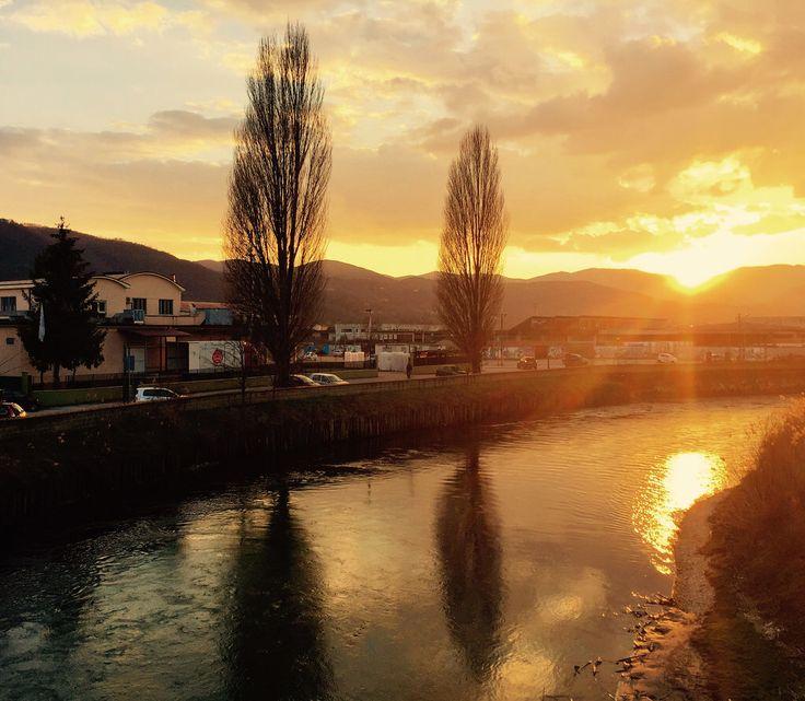 Rieti - tramonto sul fiume Velino 20/2/2017