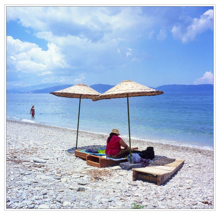 Beaches at Dilek Milli Park, with the Greek islands visible. Aegean Sea, Turkey. Rolleiflex 3.5F Fuji Velvia 100.
