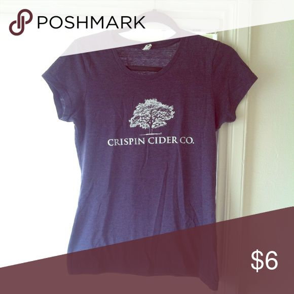 "Bartender top> Crispin Cider Size small fits bust size up to 36"". Steel blue color with logo and tree. Tops Tees - Short Sleeve"