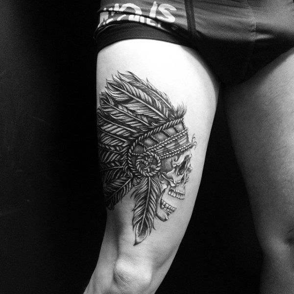 Thigh Indian Skull Male Tattoos