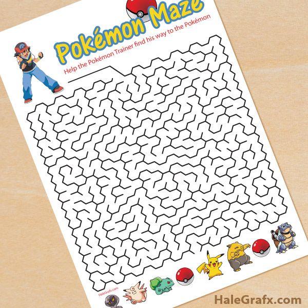 FREE printable Pokemon maze                              …