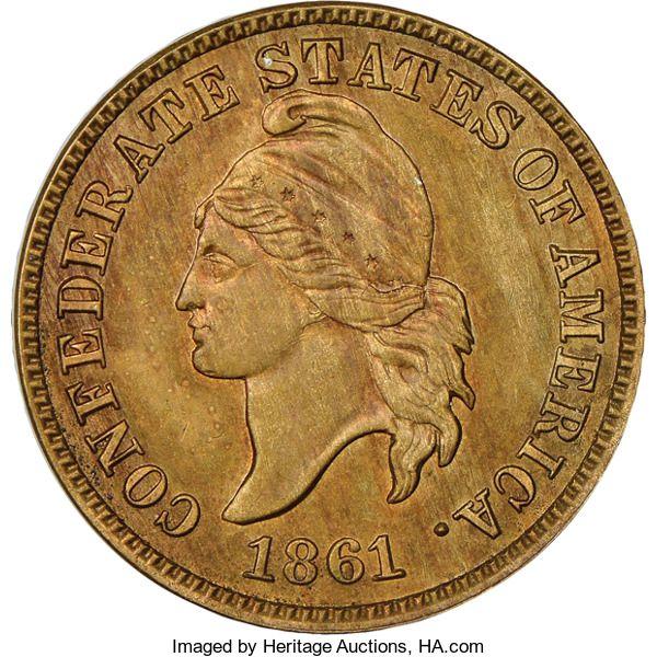 Confederate States of America, 1861 1C Confederate States of America Cent, Original, B-80...