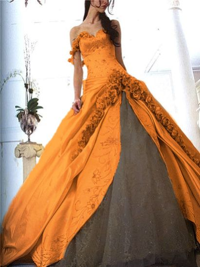 Wedding Halloween Dress - bitemecullen107 Photo I don't normally like the orange wedding dress, but this one is beautiful.