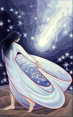"""ARIANRHOD - Arian significa """"prata"""", e Rhod significa """"roda"""" ou """"disco '. Deusa celta da Lua-Mãe. Chamada de a Roda de Prata que desce para o mar. Filha da Mãe Deusa Don e seu consorte Beli. Ela é o governante de Caer Sidi, um reino mágico no norte. Ela era adorada como sacerdotisa da lua.:"""