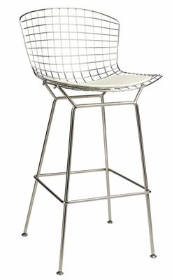Chrome Wire Bar Stool with White Seat Pad, MM-8033L-WHITE for $145 | RestaurantFurniture4Less.com