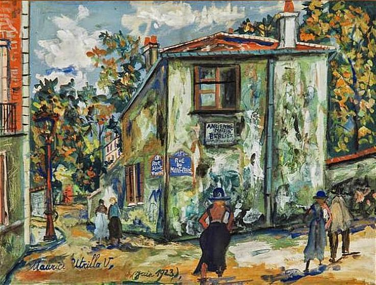Maurice Utrillo (1883 - 1955) Mont-Cenis Street, House of Berlioz, 1923