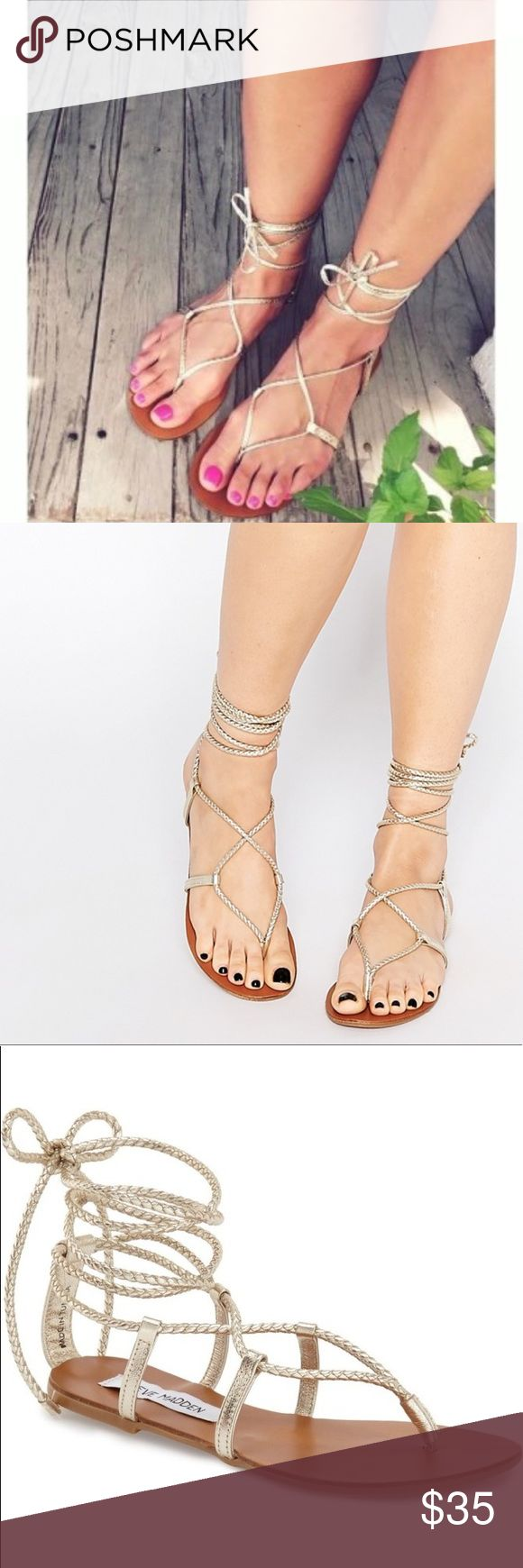 ✨Steve Madden silver gladiator sandals ✨Steve Madden silver gladiator sandals  Metallic silver.  Open toe & open back  High Quality – great condition Size 6 Very comfortable  Purchased from DSW Steve Madden Shoes Sandals