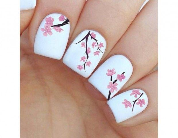 Fiori di ciliegio su base bianca