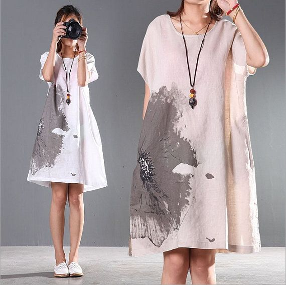 Loose ink printing cotton dress linen clothing by Aliceswool
