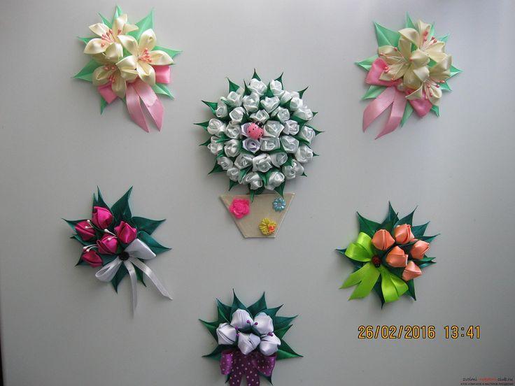 Канзаши: Магниты на холодильник в технике канзаши на Конкурс Весна ...