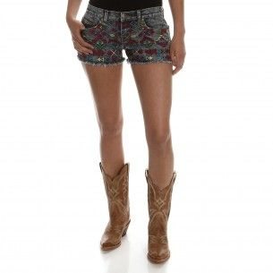 www.pfiwestern.com  Women's Aztec Shorts Blue - Women's Shorts - Women's Western Clothing - Womens