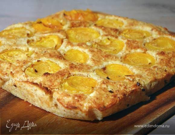 Миндально-творожный пирог с абрикосами . Ингредиенты: абрикосы, яйца куриные, творог