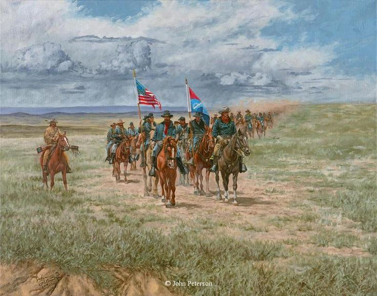 """""""Saddle Weary Campaign"""" Original 22"""" x 28"""" Oil on Linen -western art John Petersons western and mountain man art - Western, Native American & Mountain Man Art by John Peterson"""