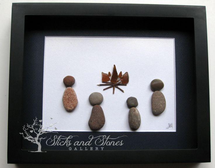 Pebble Art Fireside Scene - Pebble Art Campout- Unique Cabin Art - Camping…