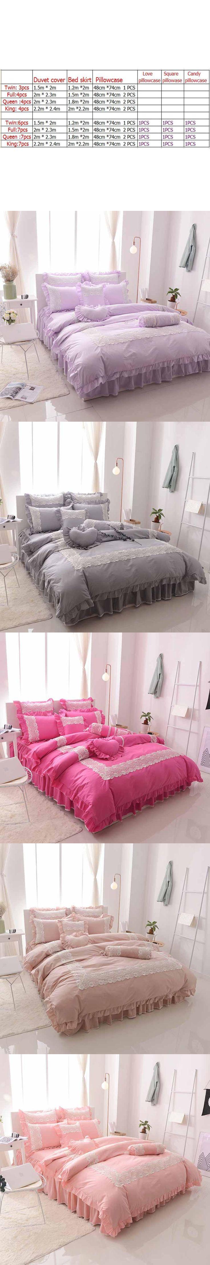 Lace princess 100%cotton bedding set comforter/duvet cover queen king 4/7pcs wedding white bed skirts  bedclothes