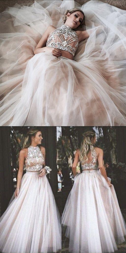 2017 prom dress, two piece prom dress, long prom dress, high neck prom dress, prom dress long